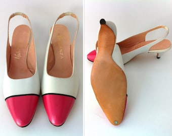 NOS Women's Slingbacks, Women's White and Pink Shoes, Size 7, Brand NEW Eleganza Leather Heels, Vintage Slingbacks, Kitten Heels, Open Back