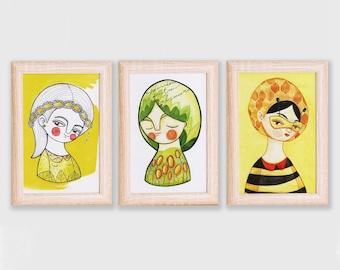 Postcards set of 6 yellow & green girl illustration