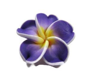 20 mm Purple Polymer Clay Plumeria Flower Beads set of 4 (P38)