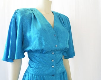Vintage Dress, Silk, Freshwater Blue