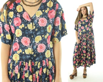 Vintage 90s Sundress Tea Length Dress Short Sleeves Floral Rayon 1990s Large L Hippie Boho New Mints
