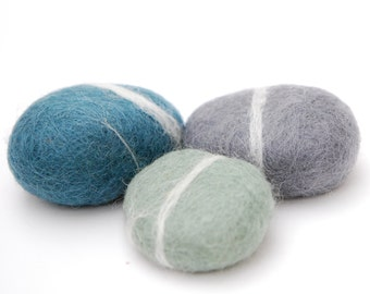 Felted Stones, blue grey mint stones wool ecofriendly decor paperweight