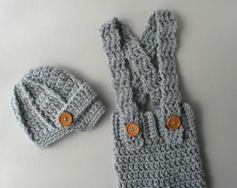 Gray Newborn Baby Boy Photo Prop Outfit, Baby Boy Photo Prop, Baby Boy Outfit, Crochet Baby Outfit, Baby Boy Clothes, Newborn Crochet Outfit