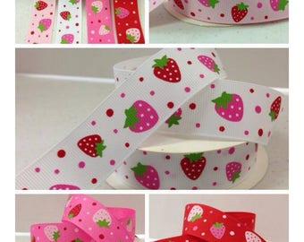 7/8 x 10 yds GROSGRAIN RIBBON -Sweet Strawberries..RED....*Free Shipping*