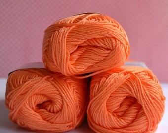Catania yarn - Schachenmayr / 386 Orangelachs / 100% Cotton/ Worldwide Shipping / Crochet and Knitting Yarn / 1 ball/50g