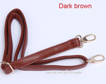 1Pc 53x0.8 inches Adjustable Gray White Dark Brown Coffee PU leather strap for Purse Cross body Satchel Tote Handbag Shoulder Bag Making