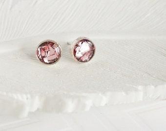 Light Pink Glitter Studs, Blush Pink Earrngs, Small Round Studs, Rose Studs, Pastel Studs, Small Posts, Silver Studs, Gold Studs