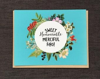 Sweet Honourable' / Notecard / Blank Inside / FREE SHIPPING
