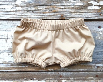 Tan Diaper Cover Baby Bloomers Kids Tan Shorts Bubble Shorts Girls Bloomer Baby Girl Shorts Newborn Shorties Baby Girl Clothes Fashion