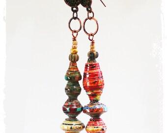 Long Colorful Hippie Earrings Mismatched Gypsy Earrings, Handmade OOAK, Paper Jewelry, Stick Earrings, Stacked Beads, Lightweight