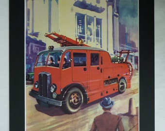 1950s Vintage Fire Engine Print, Retro Fire Fighter Decor, Available Framed, Fireman Art, Boy's Nursery Picture, Old Red Truck Gift for Boy