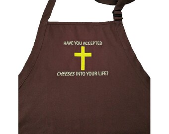Cheese Cross Embroidered Brown Apron