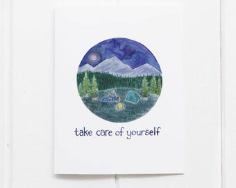 Self Care Card / Get Well Card / Greeting Card / Self Care / Camping Card / Camping Gifts / Pacific Northwest Card / Gifts for her