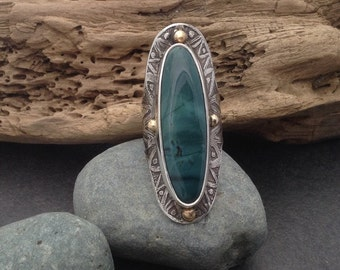 Long wide Skaggs Jasper ring, grey blue stone, sterling silver band with rustic etched pattern & 4 gold colored brass balls, fits size 7