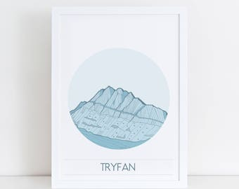Tryfan Poster   Outdoor Adventure   Mountain poster   North Wales   Cymru   Snowdonia