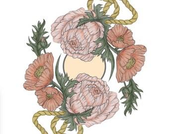 Botanical Fine Art Print 8x10, peony, poppy, Floral Print, art, bohemian, zen, botany
