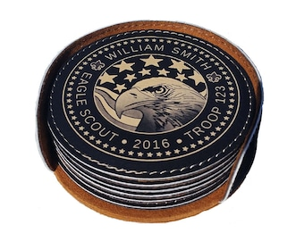 Custom Round Leatherette Coaster for Eagle Scouts