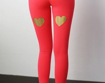 Yoga leggings, women's yoga leggings, neon leggings, 80s leggings, high waist leggings, high waisted pants, heart leggings, yoga wear