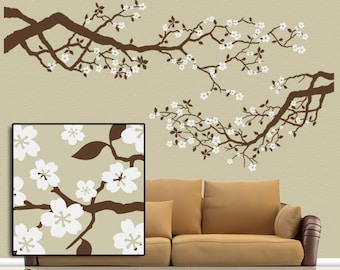 Best Selling Large Vinyl Wall Decal Set Cherry Blossoms Tree Branches with White Flowers, Country Decor Woodland Nursery  (0172c31v-rc)