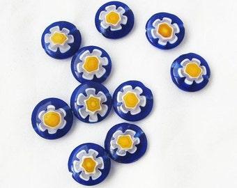 Cobalt Blue Glass Cane Flower Beads - Glass Cane Beads - Glass Beads