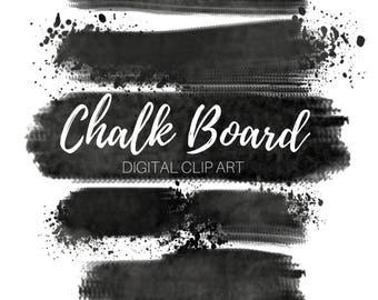 Chalk Board Brush Stroke Clip Art - Paint Splatter Clip Art - Ink Blob Clip Art - Commercial Use