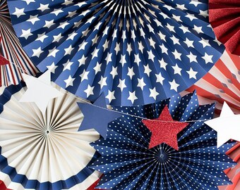Red White and Blue Stars | 4th of July Party Star Garland Patriotic Party Decor Stars and Stripes Summer Memorial Day BBQ Labor Day USA Flag