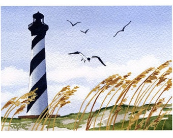 Cape Hatteras Lighthouse Art Print - Landscape Watercolor Painting - Signed by Artist DJ Rogers - Wall Decor
