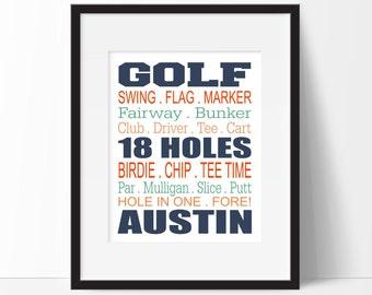 Golf Print, Golf Wall Art, Golf Room Decor, Personalized Golf Print, Golf Wall Decor for Kids