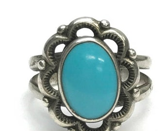 ON SALE Silver and Turquoise  Scalloped Flower Ring Size 9 Vintage 1980's