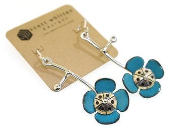 Mid Century Modern Inspired Vintage Style Glass Enamel Sterling Silver Abstract Flower Earrings