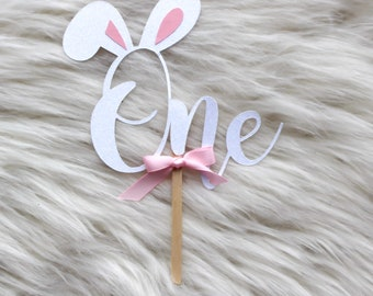 one bunny cake topper - one cake topper - bunny cake topper - some bunny is one - bunny ear cake topper - bunny is one - easter cake topper