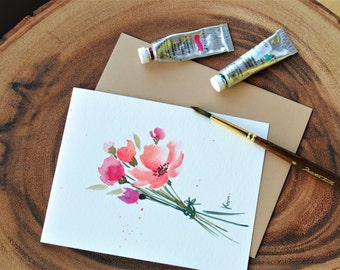 """Set of 3_Original hand painted  watercolor/ Flower bunch/ blank cards/ Miss you/ Thank you/ Birthday cards 4.5""""x5.5"""""""