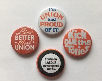 4 Labour Party Jeremy Corbyn Union Pin Badges Socialist Political Buttons