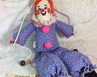 CLEARANCE Vintage Hanging Clown Plushie Stuffed Toy on Swing Calico Critters - 70s 80s Kids Toys