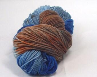 Superwash Merino Worsted  Wt  Wool  Yarn  Hand Dyed WoolYarn Multi Colored /Variegated Blue Dark /Blue /Reddish Brown /Merino Yarn Hand Dyed