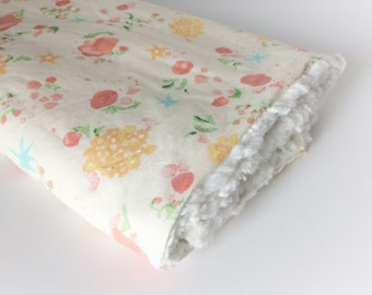 Baby Girls Blanket - Pink Stroller Blanket / Floral Baby Blankets / Minky Blanket / Baby Girl Nursery Blanket -READY to Ship Gifts