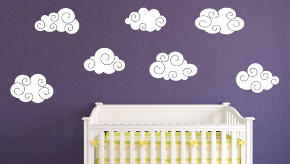 Swirly Cloud Wall Decal Clouds Nursery Wall Decal Clouds - Nursery wall decals clouds