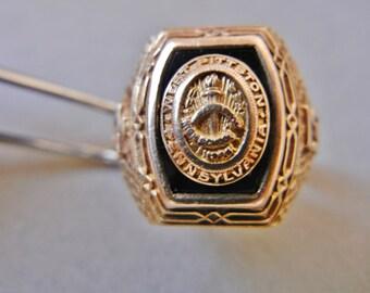 Art Deco gold class ring, Murchison 10K gold class ring, vintage deco real gold class ring, Murchison Newark ring, vintage 10K deco ring