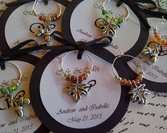 5-45 Custom Autumn Themed Wine Charm Favors - Weddings, Bridal Shower, Rehearsal Dinner, Anniversary, Dinner Party or Special Event
