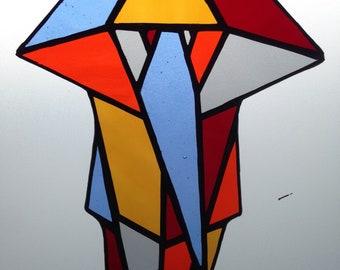 Geometric Stained Glass Elephant