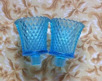 Two Aqua Glass Votive Holders-Diamond Pattern-Candle Holder-Homco