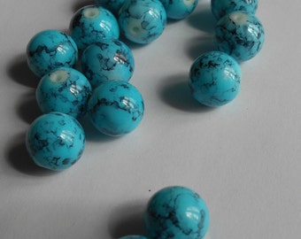 Glass beads, turquoise beads, 12mm beads, jewelry supplies