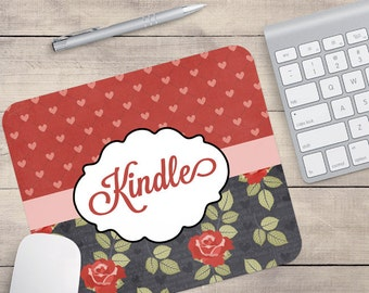 Grey Red Flower Mouse Pad, Heart Mouse Pad, Floral Mouse Pad, Monogram Mouse Pad, Name On Mouse Pad, Personalized Mouse Pad (0009)