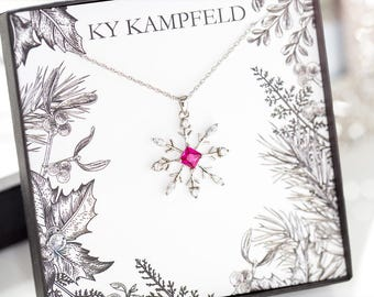 Snowflake Necklace - Christmas Necklace, Silver Snowflake Necklace, Christmas Jewelry, Crystal Snowflake Necklace - Pink Necklace
