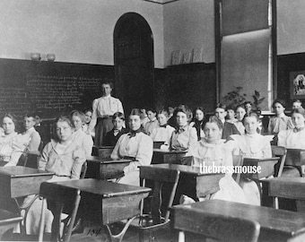 Vintage 1910s School Classroom Set of 4 Distressed Black and White Photographs Instant Digital Download Classroom Teacher Students