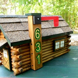 Rustic Log Cabin Mailbox Handcrafted Log Home Rustic Decor Engraved House  Number Featured In Log Home