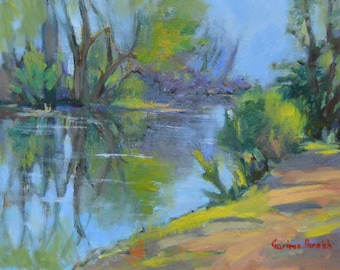 "Original oil landscape painting, River painting , water, trail, New England, 9"" X 12"""