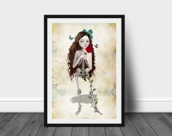 Gothic Romance Art Print | Skeleton Girl Art | Strange Art | A3 Art Print | Without You, I'm Incomplete