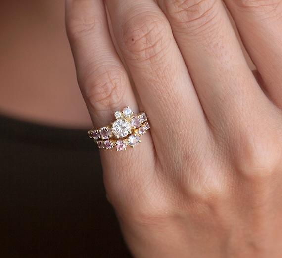 Cluster Diamond Ring Wedding Set Gold Sapphire Pink Engagement Peach