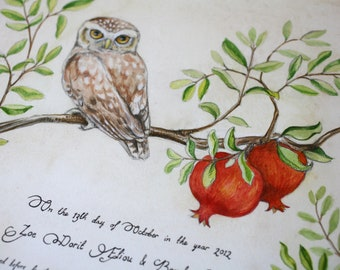 Modern Hand-painted Ketubah/Marriage Certificate Owl-Pomegranate 2